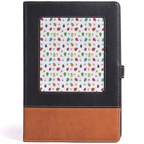 Thick Paper Faux Leather Notebook with Fine Inner Pocket Ladybugs Leather Notebook for Boys&Girls,Size 6.1x8.6 in