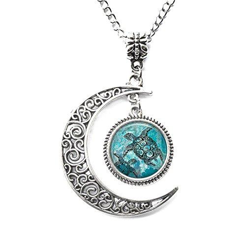 Charm Crescent Moon Sea Turtles Pendant, Sea Turtle Necklace, Sea Turtle Jewelry, Turtle Lover Pendant, Best Gift Turtle Pendant,halloween Necklace Christmas Necklace -