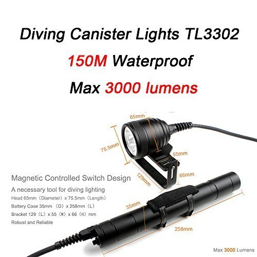 3000lumens Diving Canister Lamp Diving Lantern Scuba Lights for Dive