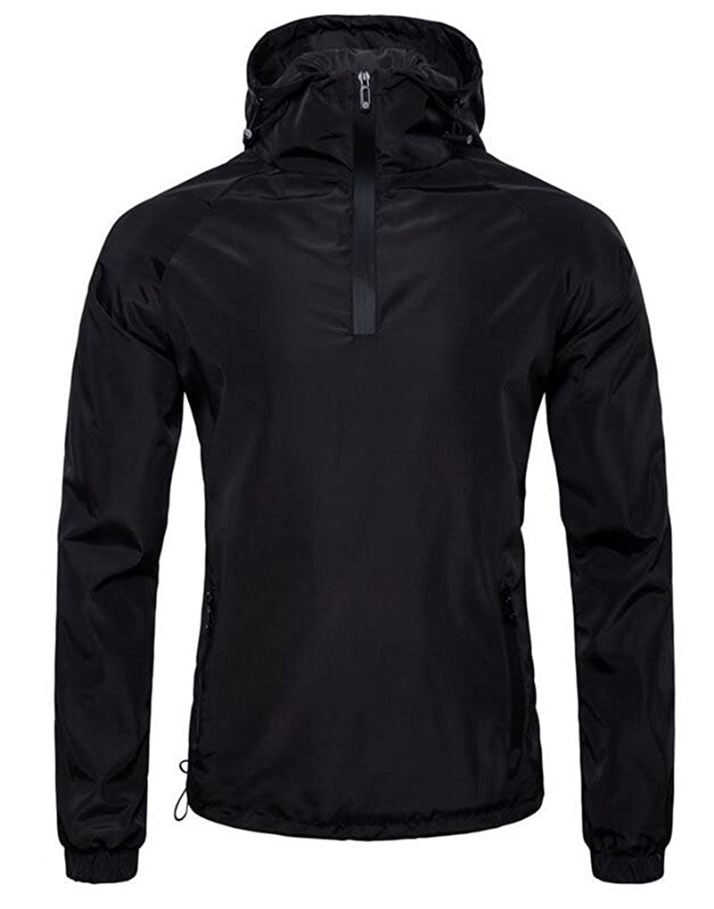 Cafuny Mens Outdoor Casual Black Sports Hooded Bomber Varsity Jacket