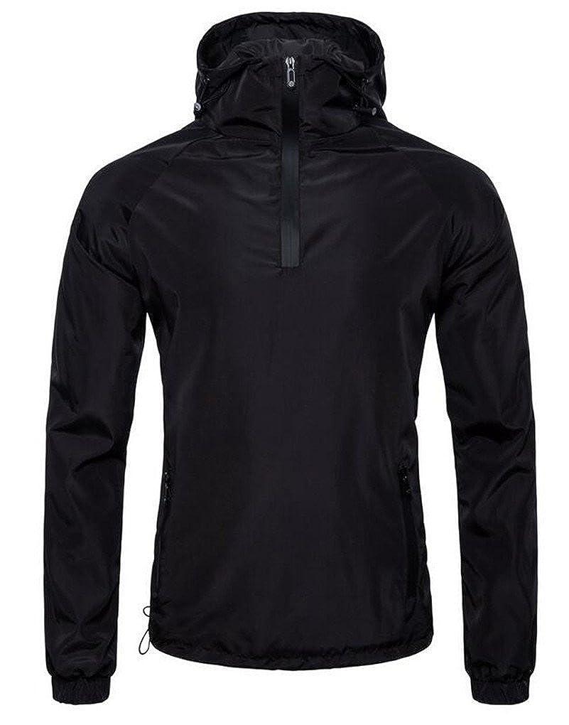 Cafuny Mens Outdoor Casual Black Sports Hooded Bomber Varsity Jacket