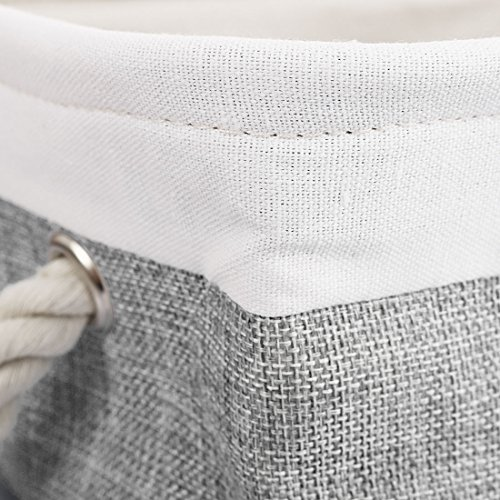 uxcell Folding Canvas Fabric Storage Basket Bin Container Organizer Cube Laundry Hamper w/Cotton Rope Handles for Clothes, Laundry, Toys, Books & More (Rectangle,Gray) by uxcell (Image #4)
