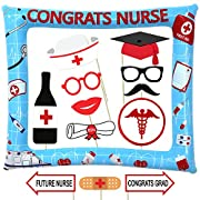 Nurse Graduation Photo Booth Prop and Frame Kit - 17 + 1pcs - Nursing Graduation Party Supplies 2019 - Nursing Graduation Decorations