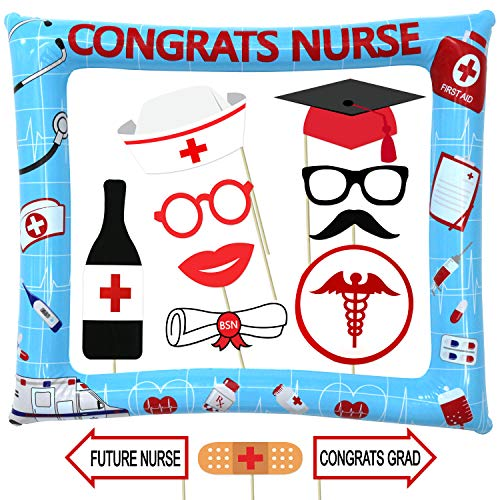 Nurse Graduation Photo Booth Prop and Frame Kit - 17 + 1pcs - Nursing Graduation Party Supplies 2019 - Nursing Graduation Decorations ()