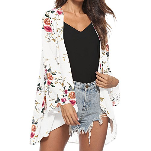 Price comparison product image WEUIE Women Blouse Clearance Sale! Women Floral Cover Casual Blouse Tops Loose Kimono Cardigan Capes (L,White )
