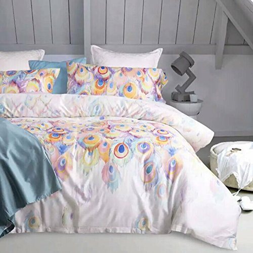 Aivedo 600 Thread Count Cotton 3 Pieces Duvet Cover Set Egyptian Quality Bedding Set Peacock Printing Watercolor Pattern,1 Duvet Cover 2 Pillow Shams - King Size