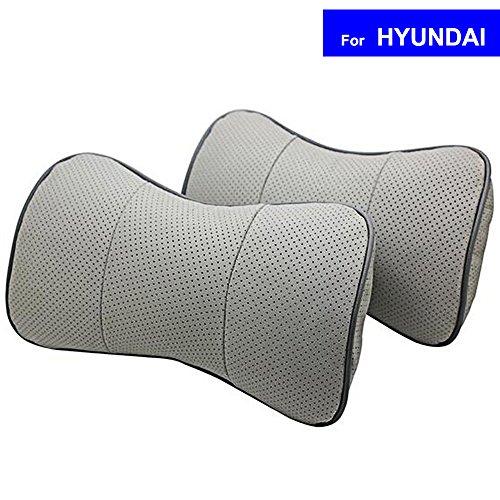 SZSS-CAR 2 Pcs Genuine Leather Bone-shape Car Seat Neck Rest Headrest Comfortable Pillow Cushion For HYUNDAI ELANTRA i30 SONATA IX35 With Logo (Grey) Grey Sonata Sonata