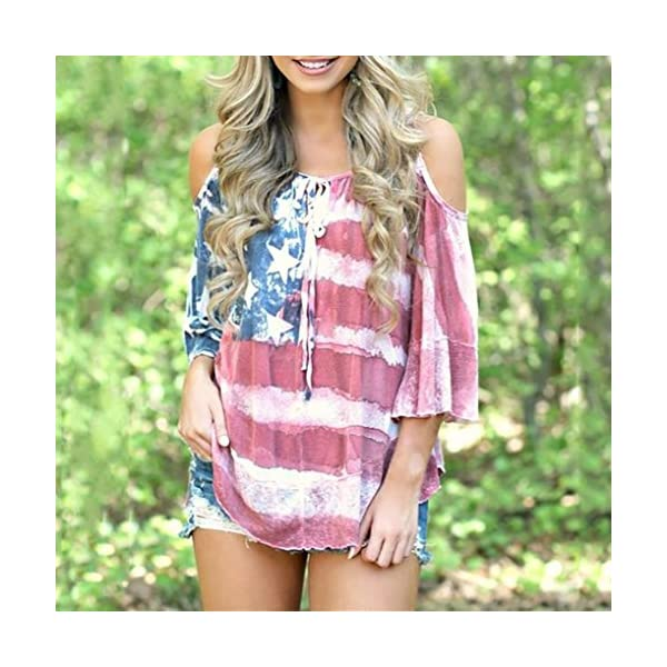 076e8802d7 WuyiMC Women American Flag Loose Cold Shouder Tunic T-shirt Tops ...
