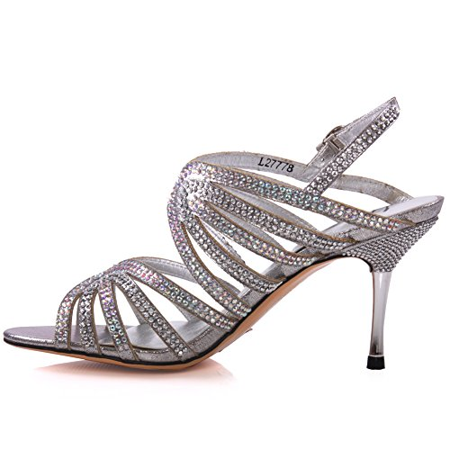 Mujer Sandalias 'Ritarose moda Silver de Unze Glitter Nswvc1o Ybg67yfv