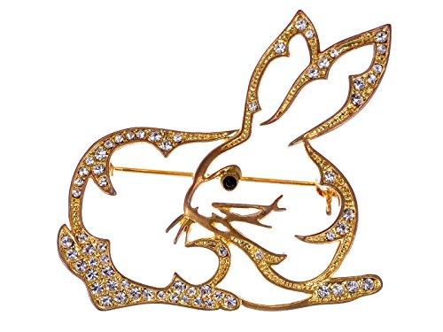 Alilang Golden Tone Clear Crystal Colored Rhinestones Cutout Bunny Rabbit Brooch Pin