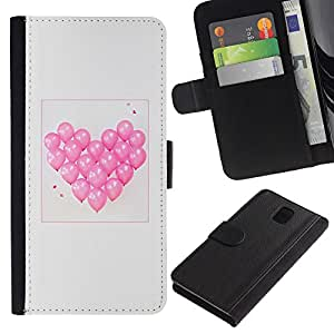 LASTONE PHONE CASE / Lujo Billetera de Cuero Caso del tirón Titular de la tarjeta Flip Carcasa Funda para Samsung Galaxy Note 3 III N9000 N9002 N9005 / balloon heart love valentines grey pink