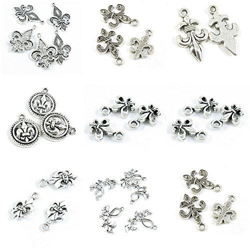 30 Pieces Antique Silver Tone Jewelry Making Charms