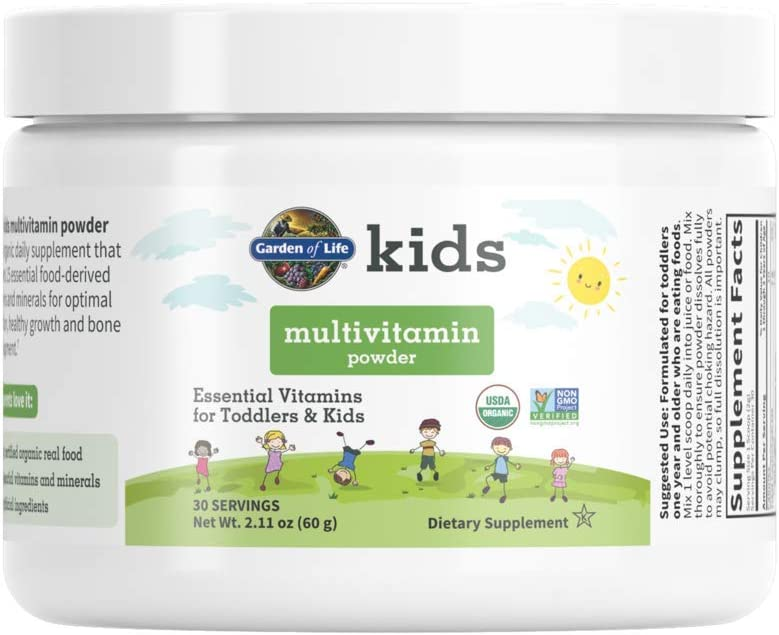 Garden of Life Kids Multivitamin Powder, Daily Vitamins for Toddlers & Kids, Organic, Non-GMO & Gluten Free Toddler Multi Powder, 15 Essential Vitamins, Minerals for Healthy Growth, 2.11 oz (60 g)