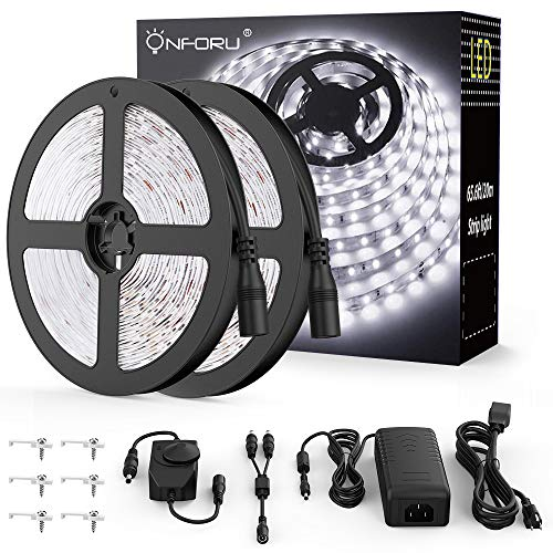 Onforu 66ft Dimmable LED Strip Lights Kit, UL Listed Power Supply, 6000K Daylight White, 20m 1200 Units SMD 2835 LEDs, 12V LED Rope, Under Cabinet Lighting Strips with Dimmer, Non-Waterproof LED Tape ()