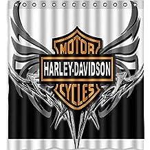 DiDa Show Custom Harley Davidson Logo Pattern Bathroom Shower Curtain Polyester Fabric,48x72 Inch