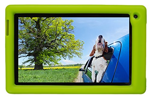 Bobj Rugged Case for RCA Voyager III and Voyager II 7-inch - BobjGear Custom Fit - Patented Venting - Sound Amplification - BobjBounces Kid Friendly (Gotcha Green) (Rca Voyager 7 Inch Tablet Case)