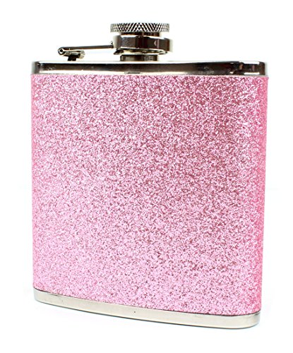 Colorful Glitter Hip Flask - Stores 6 Ounces (Pink) (6 Ounce Liquor Flask)