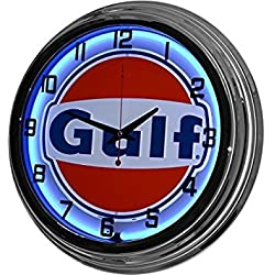 17 Blue Neon Wall Clock, Gulf Gas Oil Gasoline Station