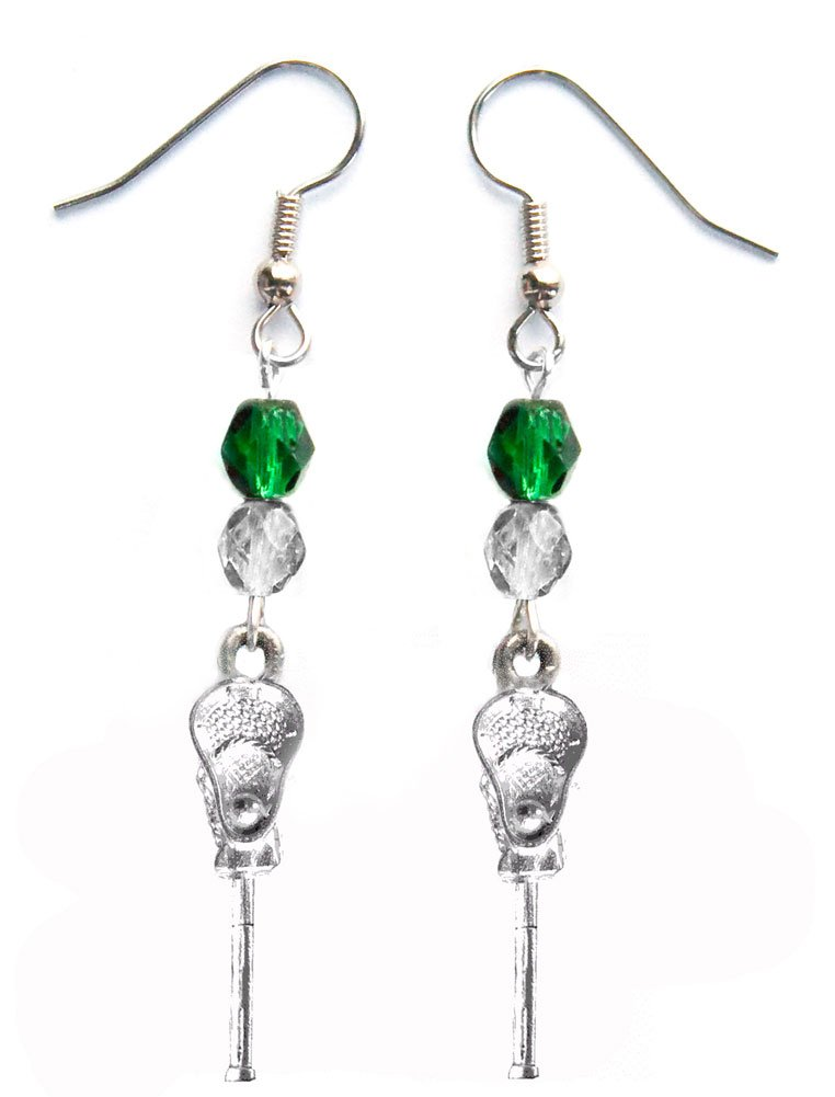 ''Lacrosse Stick & Ball'' Lacrosse Earrings (Team Colors Forest Green & Silver)