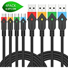 Micro USB Cable, 4Pack 6.6FT/2M Foxsun Premium Nylon Braided Tangle-Free USB 2.0 High Speed Data Sync Charger Cables For Samsung, HTC, Motorola, Nokia, Kindle, Tablet and more(Red, Orange, Blue,Green)