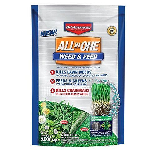 BioAdvanced All-in-One Weed & Feed with Microfeed Action, 12 Lb, 5000 sq. ft, (White Clover Weed)
