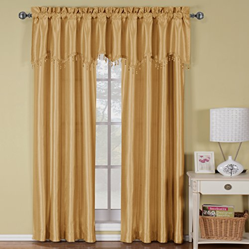 Exquisite Draperies Soho Rod Pocket Faux Silk Window Treatments, Contemporary Décor Panels & Valances, Panels Available in 63, 84, 96 & 108 Inches Length, Complete Modern Look With Matching Valance, 42 Inches by 63 Inches Panel, Gold