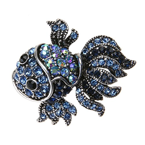 YHDBH Fashion Vintage Cute Blue Crystal Fish Brooches Pin Women Men's Animal Shinny Goldfish Brooch For Women (Goldfish Ideal Tape)