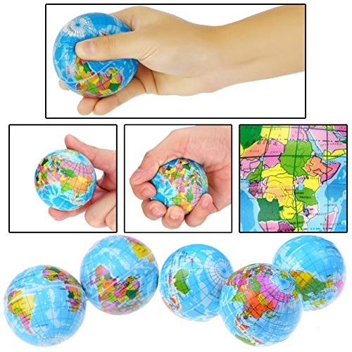 Koogel 2.5 inch Globe Squeeze Stress Balls,24pcs Earth Ball World Stress Balls Stress Relief Toys Therapeutic Educational Balls Bulk