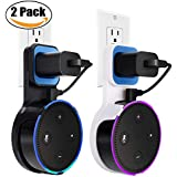 Echo Dot Wall Mount Case Holder Stand for Alexa Dot 2nd Generation DigitCont Space-Saving Hanger for Smart Home Speaker without Mess Wires or Screws-Short Charging Cable Included(2 Pack, Black, White)