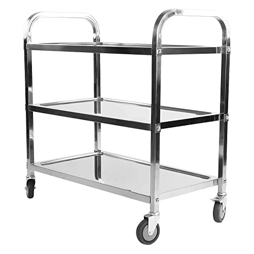 Nisorpa 3 Tier Stainless Steel Utility Rolling Cart Kitchen Island Trolley Serving Catering Storage Cart with Locking Wheels for Hotels Restaurant Home Use 37.4×19.68×37.4inch