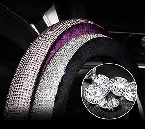 with Bling Bling Crystal Rhinestones Black /& Silver Sino Banyan Diamond Steering Wheel Cover PU Leather Case Universal 15 Inch Protector for Women