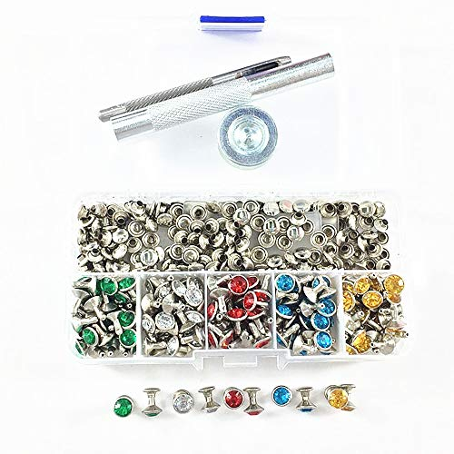 200 Sets 5 Colors Double-Sided Rhinestone Studs Punk Diamond Spikes Rivetsfor Leather/Belt/Handbag Leather Decoration with Fixing Tool (Mixed Color)