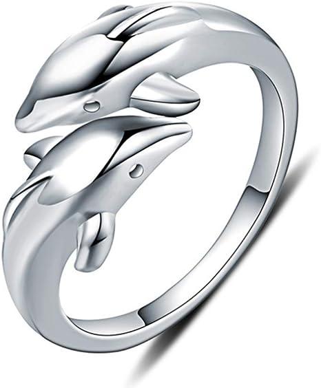 H.L Anillo Abierto En Plata Esterlina Los Amantes De Los Delfines ...