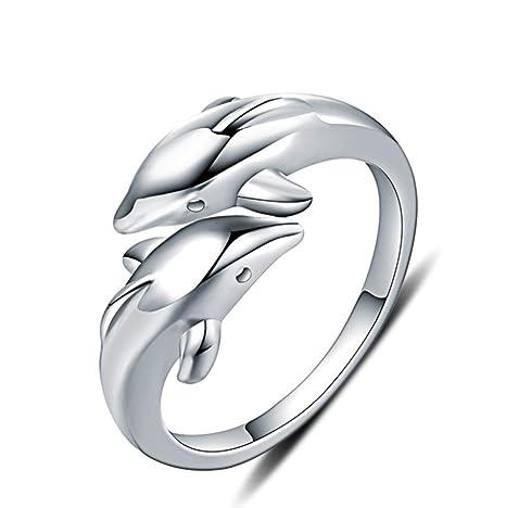 H.L Anillo Abierto En Plata Esterlina Los Amantes De Los Delfines Anillo Matrimonio Compromiso Anillo Aniversario