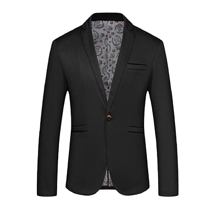 e22d21601d26 Highisa Mens Single Button Evening Casual Loose Wedding Blazer Dress Suit  Black S