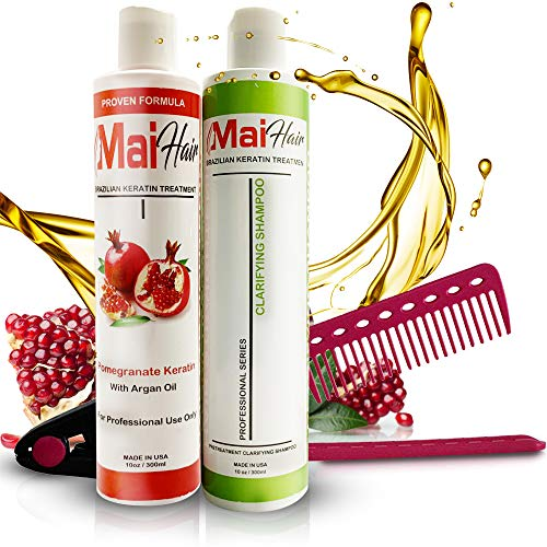 Keratin Hair Treatment Complex + Keratin Clarifying Shampoo - Professional Effective Fast Acting Powerful Formula Infused with Pomegranate and Argan Oil - FREE Straightening Comb Included! (10 oz) (Brazilian Split End Repair)