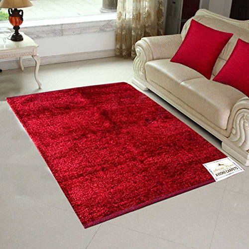 Buy Avioni Rugcarpet For Living Room Feather Touch Red 3x5ft Rhamazonin: Dark Red Rugs For Living Room At Home Improvement Advice