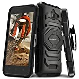 Evocel Coolpad 3622A [New Generation] Rugged Holster Dual Layer Case [Kickstand][Belt Swivel Clip] Designed For Coolpad 3622A (2016 Release) T-Mobile / MetroPCS, Black