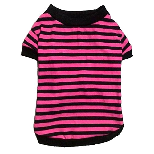 Coper 2017 New Fashion Pet Dog Casual Stripes Cotton Shirts Doggy Clothes (Rose, S) (Doggy Clothes)