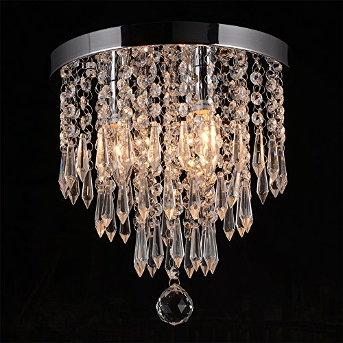 Hile Lighting KU300107 Crystal Chandeliers Flush Mount Ceiling Light Lamp,Diameter 11.0 Inch Height 11.8 Inch, 3 Lights (11 Flush Mount Chandelier)