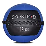Sportmad Soft Medicine Ball Wall Ball for CrossFit Exercises Strength Training Cardio Workouts Muscle Building Balance, 12LBS, Blue&Black