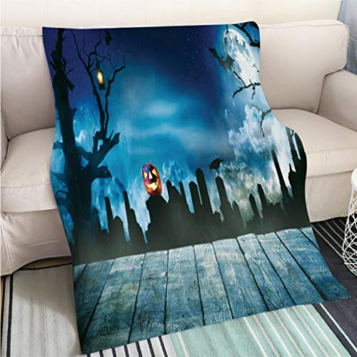 BEICICI Super Soft Flannel Thicken Blanket Spooky Halloween Background with Empty Wooden Planks Living Room/Bedroom Warm Blanket ()