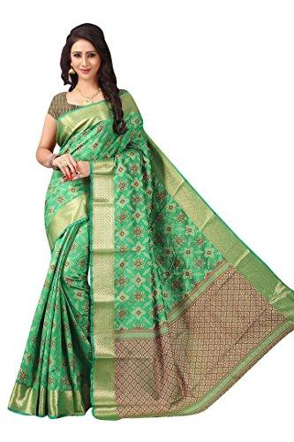 New Designer Ethnic Indian Ikkat Patola Silk GreenSaree With Free Blouse