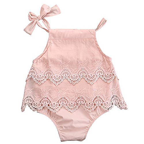 Romper Lace Romper (Newborn Baby Girl Infant Lace Romper Jumpsuit Bodysuit Tutu Dress Outfit (6-12M, Pink))