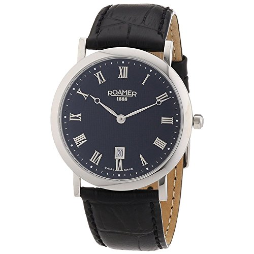Roamer Limelight Men's Quartz Watch with Black Dial Analogue Display and Black Leather Strap 934856 41 51 09