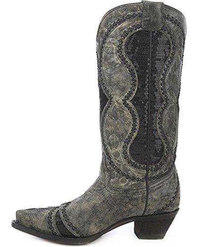 Corral Mujeres Diamond Inlay Cowgirl Bota Snip Toe - A3092 Black