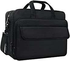 Taygeer 17 Inch Laptop Bag, Expandable Computer Messenger Bag, Water Resistant Travel Office Shoulder Bag for Men Women, Carry on Handle Business Briefcase for 17.3 inch Tablet/Notebook/HP/Dell- Black