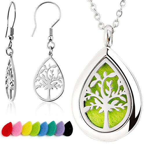 (RoyAroma Olive Tree Mini Teardrop Aromatherapy Essential Oil Diffuser Necklace+Olive Tree Earrings,Stainless Steel Pendant Locket Earrings -16 Felt Pads)