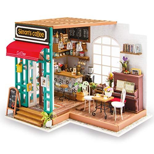 HAOUN DIYドールハウスス 手作りキット コーヒー・マニュアル・アセンブリ おもちゃ インテリア ミニ 可愛い 組立モデル LEDライト付き 女の子 アクセサリー プレゼント