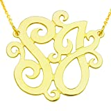 "10KY-Mono150T 10K Yellow Gold(1.5""x0.4mm thin)2-initial Monogram Necklace"